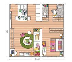 Small Studio Apartment Layout Design Ideas - home design Small Apartment Layout, Studio Apartment Layout, Tiny House Layout, Small Studio Apartments, Studio Layout, White Apartment, Apartment Living, Living Room, Layouts Casa