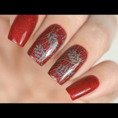 A lovely nail design tutorial by @kombucha_witch Nail Art Stencils, Stamping Nail Art, Glitter Nail Art, Nails Inspiration, Nail Colors, Nail Designs, Pretty, Finger Nails, Fingernail Designs