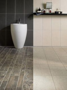 A great way of creating a zonal area - Camaro Ocean Slate & White Metalstone on the floor