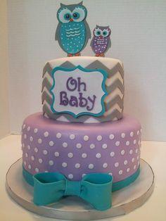Purple and Aqua Baby Shower Cake