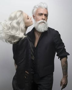 I love the way they look together...especially with the beautiful white hair and the black clothes.