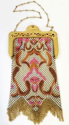 WHITING & DAVIS Enamel Mesh Flapper Art Deco PURSE BAG Pink Brown EVC #WhitingandDavis #Satchel