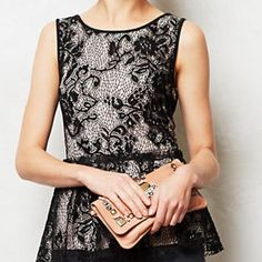 Anthropology by Deletta size small lace top. Used lace top in size small....this can fit a medium. Plum top with black lace,  Pullover styling Polyester, spandex Anthropologie Tops Blouses