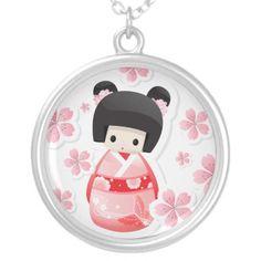 Japanese Geisha Doll - kokeshi Necklace