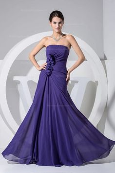Elegant chiffon dress in floor-length with hand made flower decoration.,$139.98