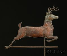 Molded Sheet Copper Leaping Deer Weather Vane