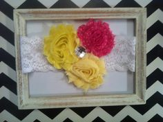 Shabby chic flowers on lace headbands  by MichelleRoseAnn on Etsy, $6.50...Might need these