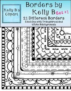 "Borders by Kelly B. Set 1.  42 Borders in this set!  Look at some of the comments left about these borders, ""ABSOLUTELY LOVE these because they are SO unique, not to mention adorable!""  ""I think that these are going to be my new best favorites.""  $"