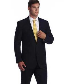 Get the best deal on navy blue 2 button pinstripe wool suit at online sale from online store MensUSA.