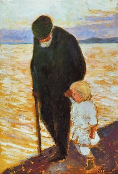 Hugo Simberg: Old Man and Child, 1913 (via Nordic Thoughts: Male portraits…) Painting For Kids, Painting & Drawing, Russian Painting, Photo D Art, Figurative Art, Art Oil, Painting Inspiration, Lovers Art, Art Museum