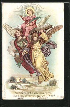 Gnadenreiche Weihnachten und Glückseliges Neues Jahr, zwei Engel tragen das Jesuskind auf der Heiligen Schrift- circulada en 1914 como correo militar.