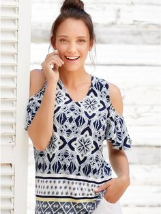 M&Co MOSAIC TRIBAL PRINT COLD SHOULDER TOP 10 to 18 MandCo Tribal Prints, Online Price, Cold Shoulder, Floral Tops, Best Deals, Blouse, Mosaic, Amp, Abstract