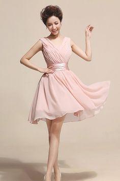 Ruched V Neck Sleeveless Pink Knee Length Dress (US$37.49)