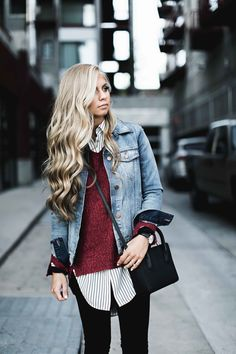 jessakae, layers, layered clothing, womens fashion, street style, fashion, ootd, denim jacket, sweater, fall style, blonde hair, wavy hair
