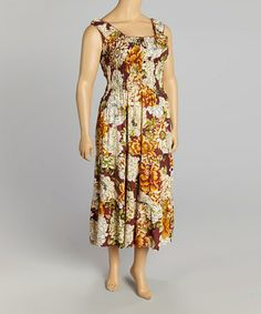 Another great find on #zulily! Orange Floral Sleeveless Dress - Plus #zulilyfinds