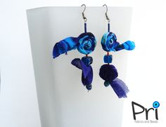 Blue fabric earrings Unique earrings. Blue lady. Gift for her. September birth color. Fabric earrings. Unique earrings. Bold blue by PriFabricNecklaces on Etsy