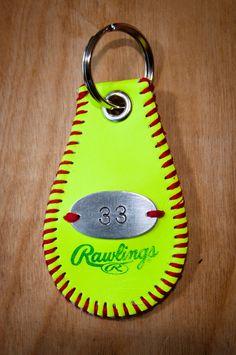 Softball Key Chain by SportzCrazyMama on Etsy, $20.00