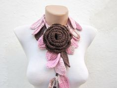 Removeable Brooch Pin Handmade crochet Lariat  Scarf Pink Brown  Colorful Variegated Long Necklace  winter fashion