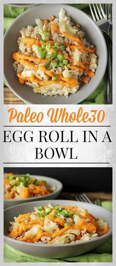 Paleo Egg Roll in a Bowl- easy, full of veggies, and delicious! Gluten free, dairy free, and healthy! paleo diet whole 30 Clean Eating Recipes, Healthy Eating, Clean Foods, Whole Food Recipes, Healthy Recipes, Paleo Meals, Egg Recipes, Paleo Cabbage Recipes, Whole 30 Easy Recipes