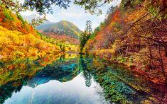 Download wallpapers Jiuzhaigou National Park, 4k, autumn, emerald lake, mountains, yellow trees, forest, autumn landscape, China