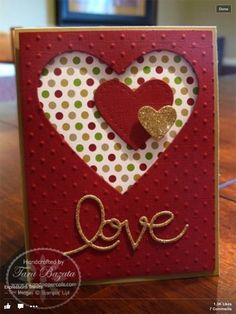 Heart die cut layered card using negative space