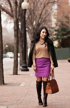 cute & little blog | olive wool blazer, polka dot camel sweater layering, radiant orchid mini skirt, pearl cluster statement necklace, michal kors bromley brown over the knee boots | winter outfit