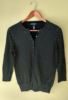 971d9957f88cd9 Banana Republic Women s Polka Dot Black Cardigan Sweater 3 4 Sleeve Sz  Medium M