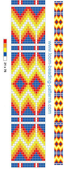 Loom beading Pattern - FREE - Blue Zig Zag - Seed Bead Pattern