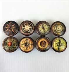 Items similar to Set of 8 Vintage Compass Cabinet Knobs on Etsy