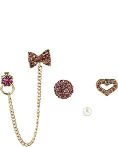 ICONIC PINKALIOUS BOW HEART 5 STUD SET FUSCHIA accessories jewelry earrings fashion