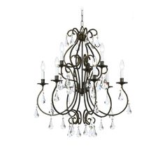 Crystorama Lighting Crystal Chandelier in English Bronze Finish | 5019-EB-CL-MWP | Destination Lighting