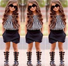 Hot детские дети девочки лето полосатый топы блузка черный шаровары шорты костюмы set купить на AliExpress