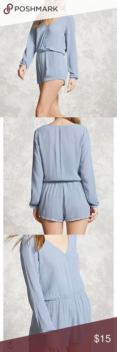VGUC• Crinkled Surplice Romper 🌺 Perfect for summer! Worn once! Dusty blue color 🌊 Forever 21 Dresses