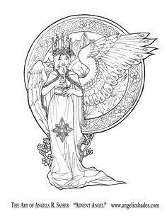 Advent Angel Line Art by AngelaSasser.deviantart.com on @DeviantArt Download a free coloring book page of this image at the link! http://angelasasser.deviantart.com/art/Advent-Angel-Line-Art-103347296