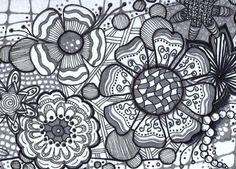 Flower Zentangle Tile by Katie Butler, CZT