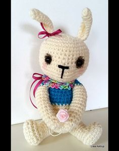 Super cute amigurumi bunny soft toy knit by IttyBittyTinyThings
