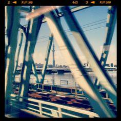 """Timing"" - #Tokyo Sky Tree seen from Narita Express, on a railway bridge approaching Tokyo Station, #Japan"