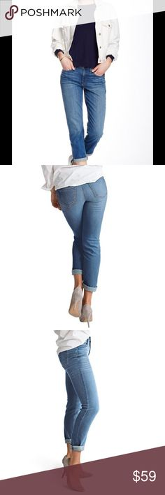 "🆕 Spanx Slim-X casual cuffed jeans Authentic Blue Sizing: 32=12   - Zip fly with button closure  - 5 pocket construction  - Fading and whiskering at thighs  - Cropped leg  - Slim fit  - Cuffed hem  - Approx. 10"" rise, 29"" inseam  - Imported  Fiber Content 93% cotton, 6% polyester, 1% Lycra  Care Machine wash cold  Fit: this style fits true to size.  Brand new with tag. Retail price $148.  Smoke free and pet free. SPANX Jeans Ankle & Cropped"