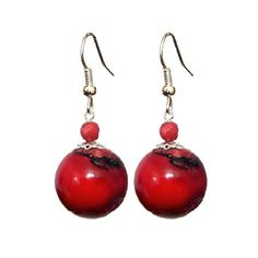 Coral Red 18mm Round , 925 Sterling Silver French Hook Earrings- Handmade - Natural Stones - Jewelry - FREE SHIPPING de ArtGemStones en Etsy