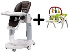 Peg-Perego Tatamia High Chair, Cacao + Peg Perego High Chair Play Bar