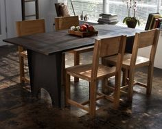 CG Sparks 5 Piece Metal Dining Table and Teak Chair Set - o1518001003