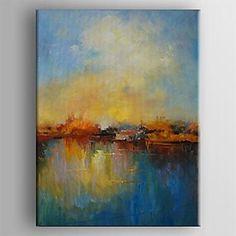 pintura+a+óleo+abstrata+moderna+paisagem+mão+telas+pintadas+com+esticada+enquadrado+–+EUR+€+63.69