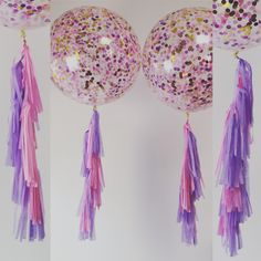 Soft pink and lavender tassels to go with the gorgeous jumbo 3ft confetti balloon
