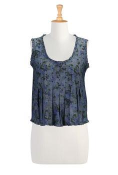 Denim Print Swingy Tops, Boho Chic Print Tops Women's Fashion Clothing - Shop Tops, blouses, tunics, camis, shirts, shrugs - | eShakti.com