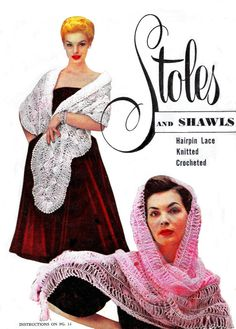Vintage Stoles Shawls Shrugs Triangles Cover Ups Hairpin Lace Knitting Crochet Patterns