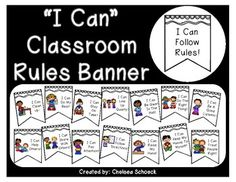 Classroom Rules Banner with I Can Statements