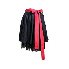 1980s YVES SAINT LAURENT black skirt with lace petticoat