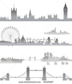 Very Detailed London skyline with Big Ben, Westminster, London Eye, Tower Bridge,