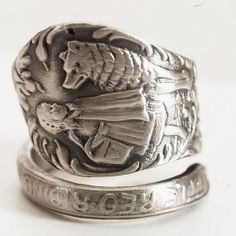 Little Red Riding Hood Sterling Silver Spoon Ring Twisted Kristen Stewart Direction, Made in your size (4598)
