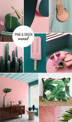 Pink and green moodboard Green Bathroom Colors, Light Green Bathrooms, Bathroom Color Schemes, Bathroom Paint Colors, Colour Pallete, Colour Schemes, Color Trends, Green Rooms, Bedroom Green